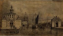 VII-252 Gezicht op de monding van de Leuvehaven met de hoofpoorten, vanuit het zuiden.