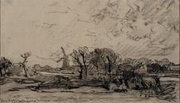 VIII-10 Gezicht vanuit het noorden op de Delfshavense Schie en de Spangesekade met de korenmolen aan de Noordschans.