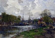 VIII-9 Gezicht op de Delfshavense Schie, vanaf de Spangesekade. Op de achtergrond de Aelbrechtskade en de Schans.