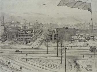 XIV-453-00-40 De Lijnbaan, op de voorgrond het Weena, rechts de bioscopen Lumière en links Thalia in aanbouw.