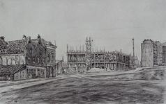 XIX-69-05 Gezicht op de Baan met het ooglijdersgasthuis aan de Schiedamsesingel/Vest in aanbouw, gezien uit het zuiden.