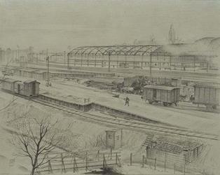 XVII-19-09 Gezicht op de Stationssingel. Het emplacement van het station Delftse Poort, gezien uit het noordwesten.