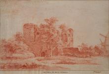 XXIX-43-1 Ruïne van het slot Mathenesse of Huis te Riviere, uit het noorden gezien. Rechts twee korenmolens.