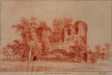 XXIX-43-2 Ruïne van het slot Mathenesse of Huis te Riviere, uit het westen gezien.