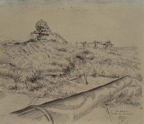 XXVIII-15-01-4 De Beer met resten van Duitse verdedigingswerken.