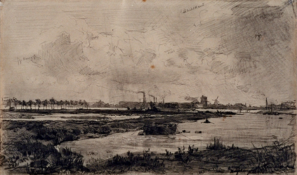 XXXII-28 Gezicht vanaf de Westkousdijk op het water van de Westkous. Op de achtergrond de watertoren van de gemeente ...