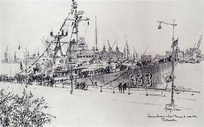 XXXIII-1260 8 - 12 juli 1960VlootweekAmerikaans oorlogsschip aan de Parkkade.