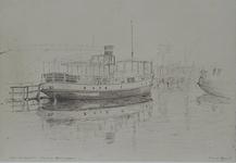 1980-3902 Gemeentedok en boot in de Dokhaven. Uit de Doklaan naar het noorden.
