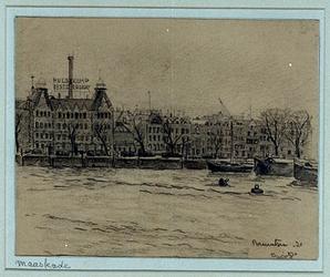 1986-667 Gezicht op de Nieuwe Maas vanaf de Boompjes op de Maaskade ter hoogte van distilleerderij Hulstkamp.