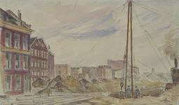 IX-1139-02 De Hartmanstraat, uit het zuiden. Rechts de bouwput voor woningen en winkels aan de Witte de Withstraat.