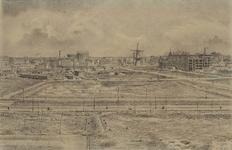 IX-1878 Gezicht op de Mariniersweg en het daarachter gelegen open terrein tot aan het Oostplein.