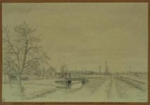 IX-530 Landschap langs de spoorbaan naar de Vondelingenplaat met overweg aan de Charloisse Lagedijk (waar het manneke ...