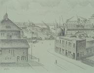 VII-189-01 Gezicht op de Sint-Jobshaven en het terrein van W. Müller & Co. tussen de Sint-Jobshaven en de Parkhaven uit ...