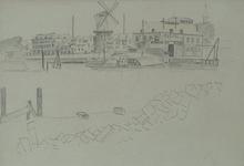 VII-89-01 Achterhaven met molen De Waakzaamheid , uit het zuiden.