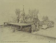 XVIII-277-01-04 De Franse Kerk met op de voorgrond het dak/ligterras voor T.B.C. patiënten van het gebouw voor de ...