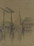 XXXI-419-03 De Hogebrug met de Delfshavense Schie op de voorgrond, de Dorpsstraat en Nederlandse Hervormde Kerk op de ...