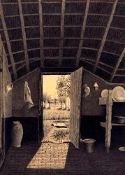XXXI-582-02-2 Het interieur van een boerenwoning bij openstaande buitendeur aan de Dorpsdijk, te Rhoon dicht bij de ...