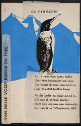 944-02_89_59 De pinguin : gedicht. Verticaal links op het affiche de tekst: Van Nelle voor koffie en thee.