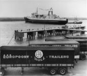 XXXIII-1534-15 De opening van de Noordzee-veerdienst (North Sea Ferries) op Hull. Het schip Norwave in de Beneluxhaven.