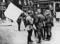 XXXIII-566-05-01 Sergeant-majoor Van Ommering (met witte vlag) op het Noordereiland in gesprek met Duitse militairen, ...