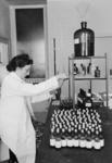 XXXIII-597 Mejuffrouw Gohres vult de flesjes met vitamine D, die dienen ter bestrijding van Engelse ziekte bij kinderen.
