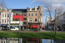 392 Café De Unie aan de Mauritsweg. Op de voorgrond de Westersingel en rechts de Van Oldenbarneveltstraat.