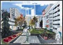 3 Deze tekening van de Lijnbaanflats en de Lijnbaanhoven met verschillende beelden uit de omgeving van het ...