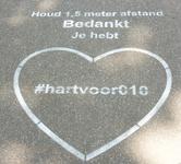 264 Rotterdam tijdens de Coronapandemie. Dankbetuiging voor het 1,5 meter afstand houden, je hebt daarmee #hartvoor010.
